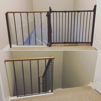 Banister Guard and Gate on Metal Railings