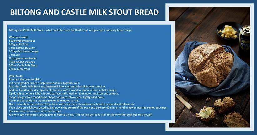 biltong and castle milk stout bread