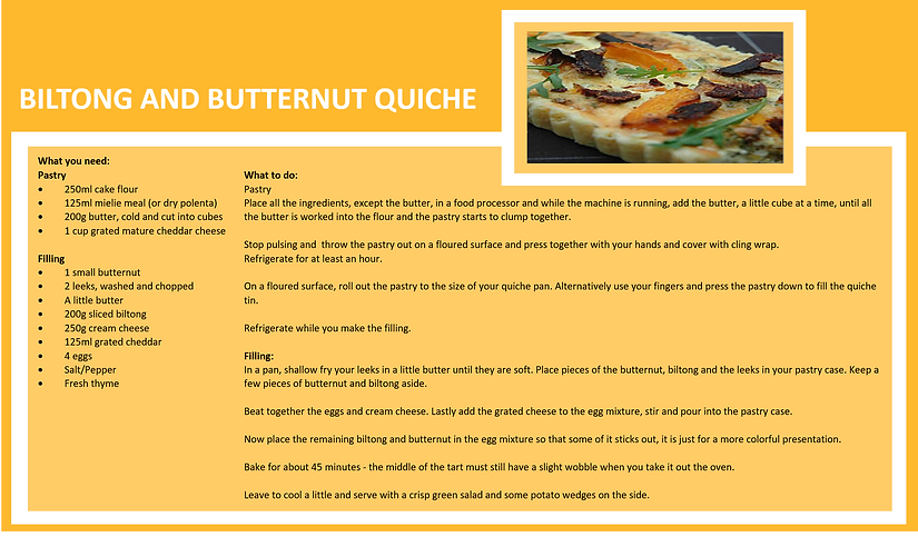biltong and butternet quiche