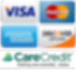 visa, master card, Discover, AMX, CareCredit logos