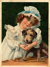 Nena con perro
