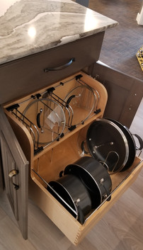Pots and pans pullout in showroom