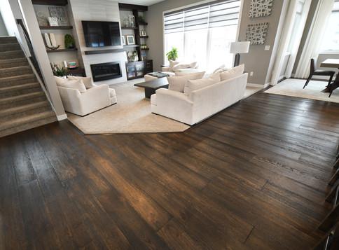 Carpet, hardwood, tile fireplace and blinds