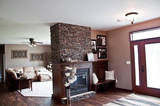 Wrap around fireplace