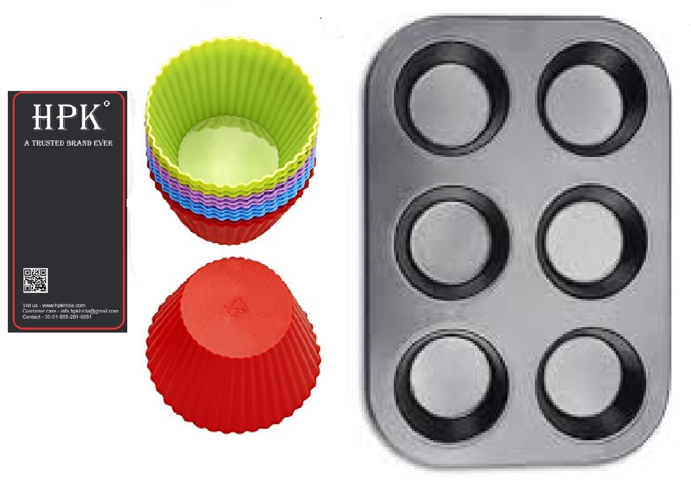 hpk-brsuh  silicon molds muffin tray  round  molds Set