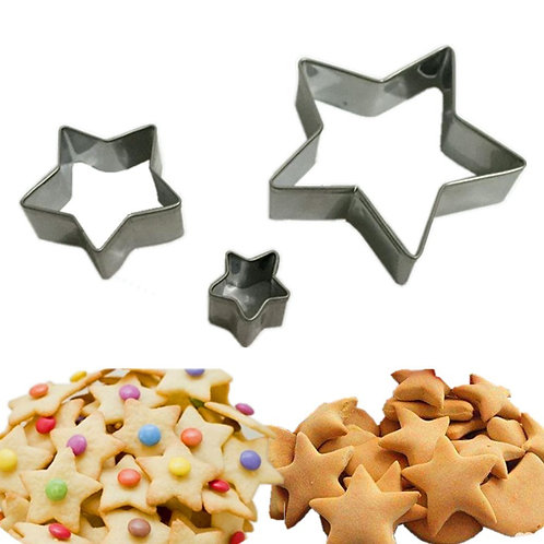 3 Pcs Star Shape Stainless Steel Biscuit Cookies Cutters