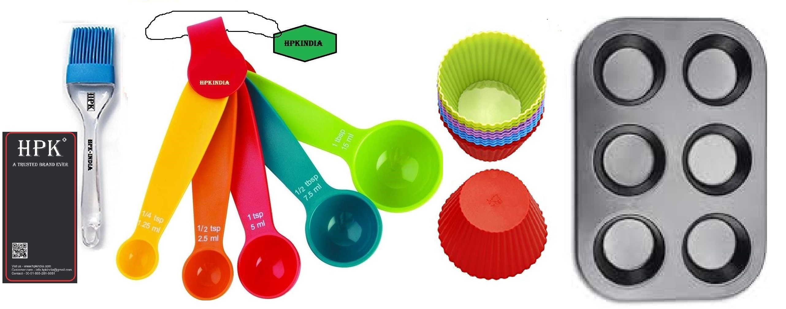 hpk-brsuh round molds muffin tray measuring spoons  round  molds Set