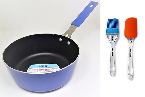pan with long handle and oiling brush
