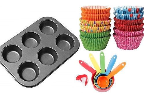 6 Muffin Cup Cake Baking Trays with 24 baking cups and measuring spoons