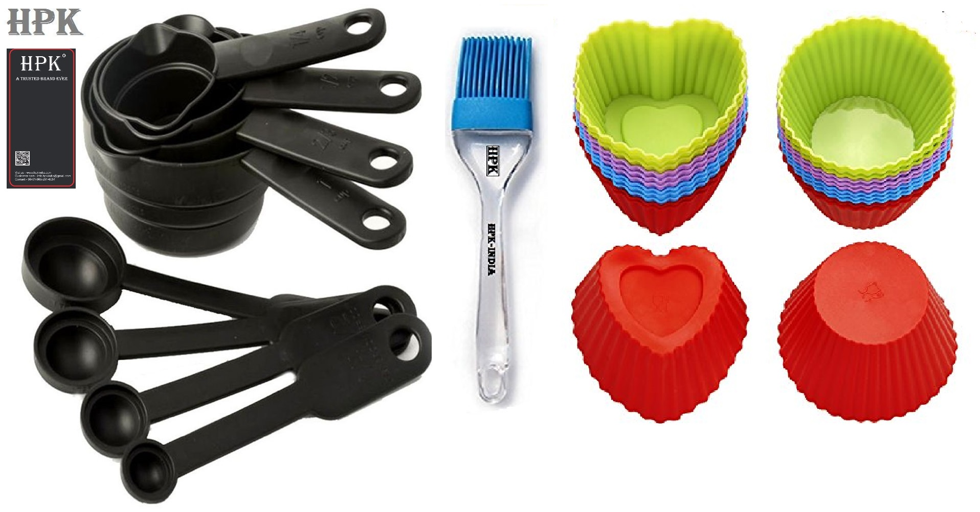 Hpk 8 Piece Measuring Cups & Spoons Silicone  Pastry Brush heart and round mold