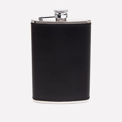 hpk Black-Leather-Bound Hip Flask
