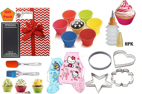 GIFT PACK KIDS BAKEWARE SET REUSABLE FOODGRADE SILICONE BAKING CUPS COOKIE CUTTE