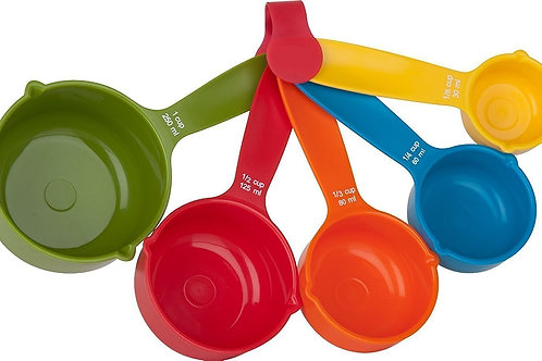 Set of 5 Pieces Multicolored Kitchen Cooking Baking Measuring Spoons Cups