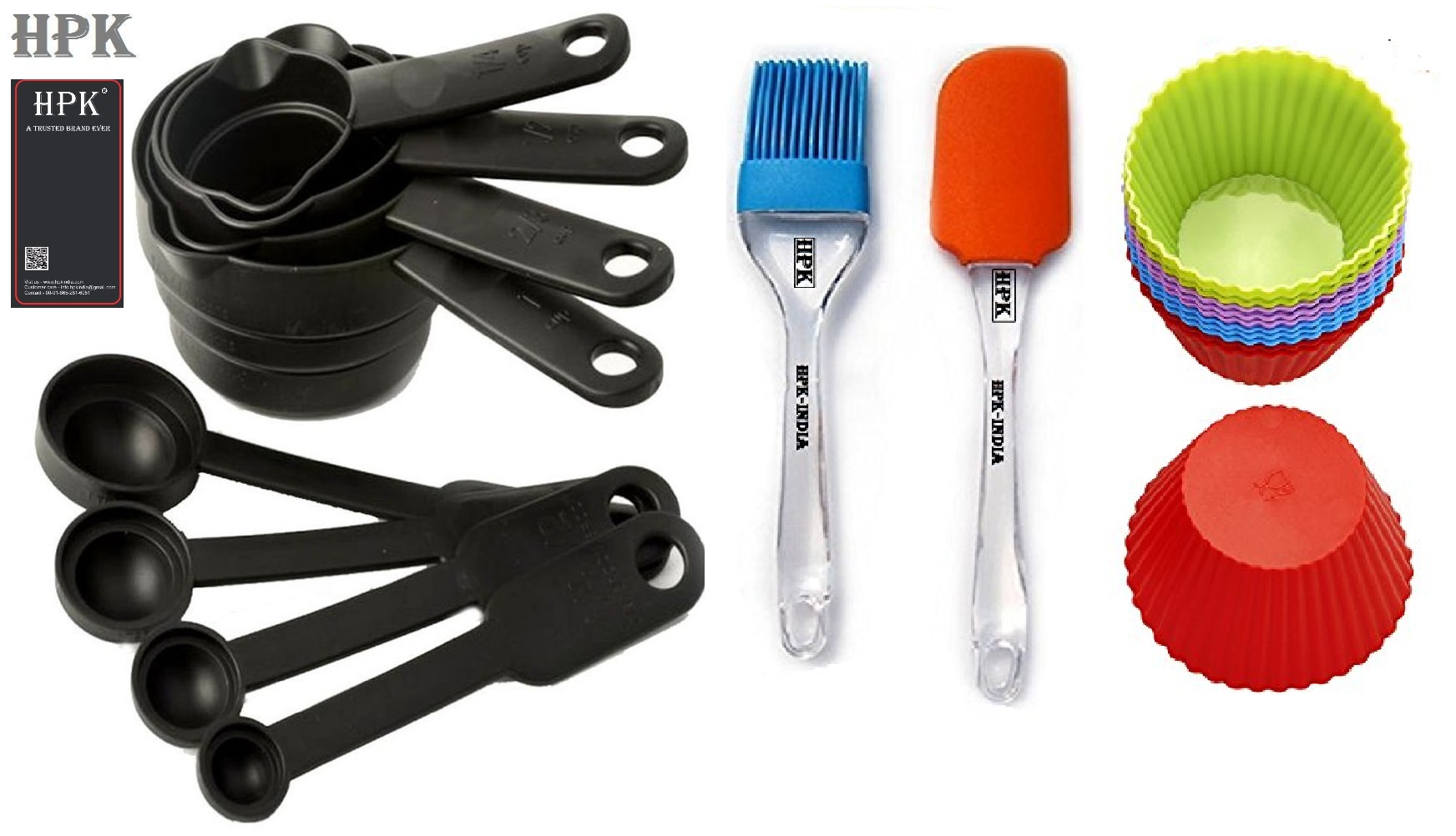 Hpk 8 Piece Measuring Cups & Spoons  2 Pcs Silicone Spatula And Pastry Brush round mold
