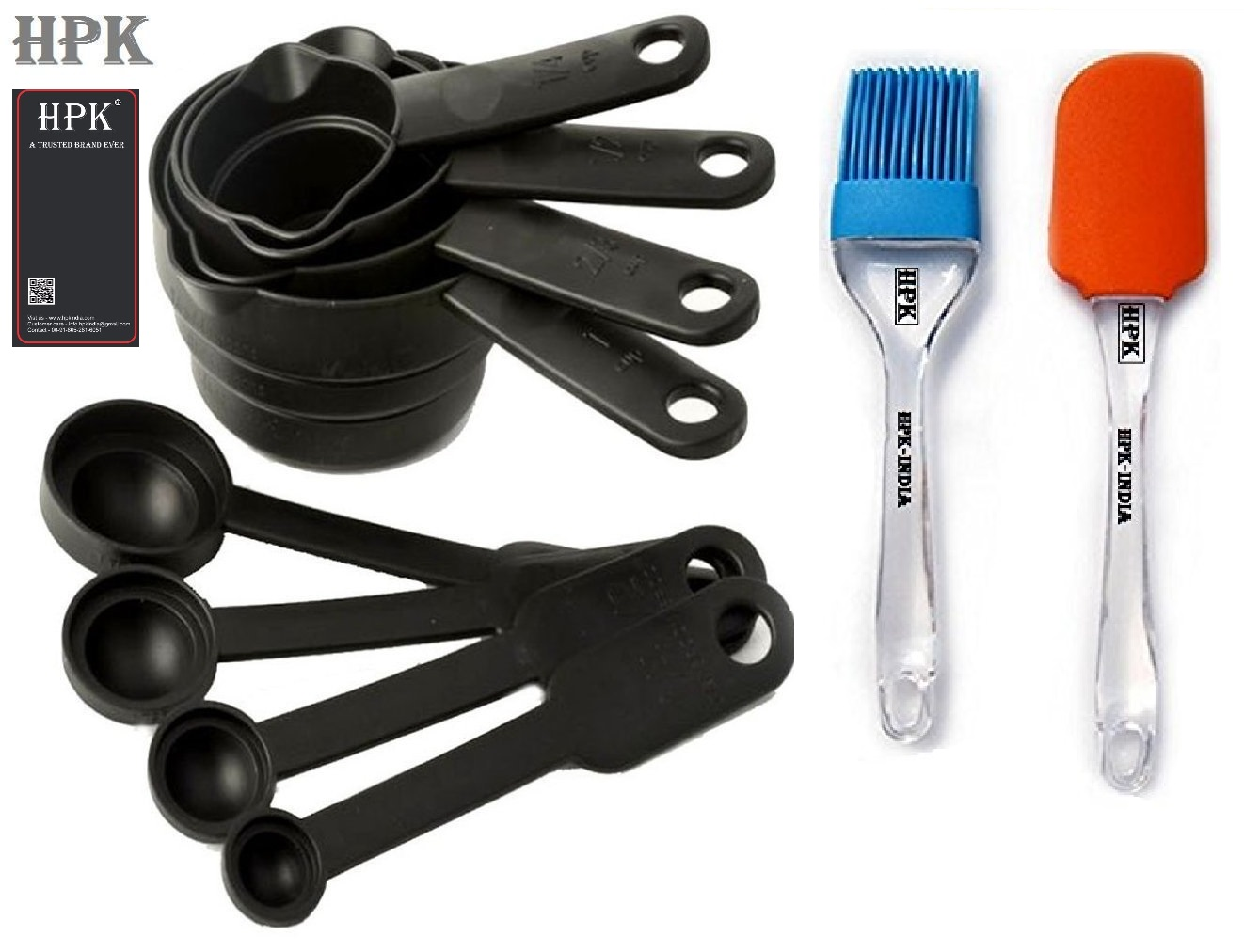 Hpk 8 Piece Measuring Cups & Spoons  2 Pcs Silicone Spatula And Pastry Brush