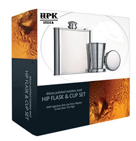 Corporate gift set of hip flask