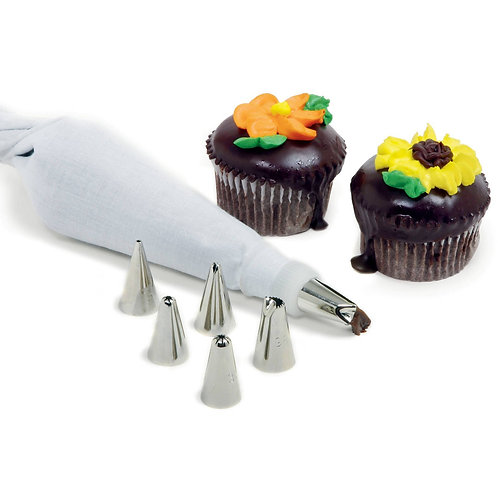 8 Piece Cake Decorating Set Frosting Icing Piping Bag Tips