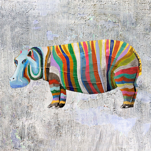 Rainbow Hippo 1on Grey