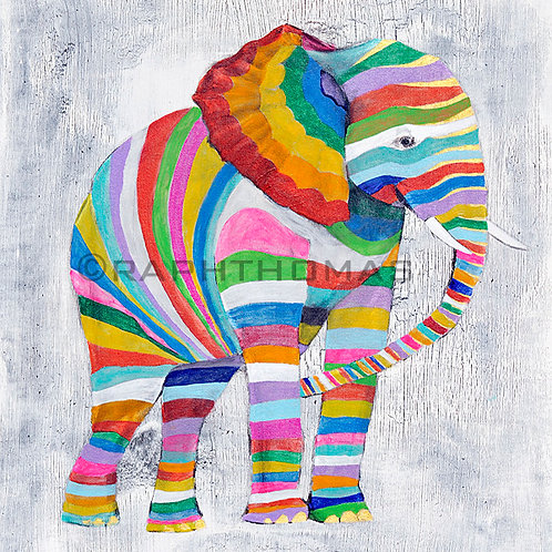 Striped Elephant 1 (Square)