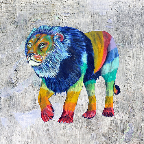 Striped Lion 1 on Grey