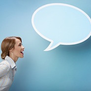 Woman with a speech bubble