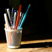 Cup of pencils and pens