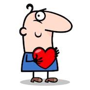 cartoon character holding a heart