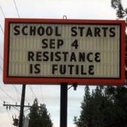 School starting sign