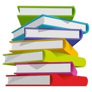 Pile of colourful books