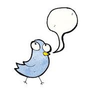 Blue cartoon bird