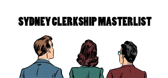 Sydney Clerkship master list headline banner