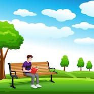 Cartoon boy reading book on a park bench