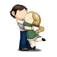 Cartoon characters hugging