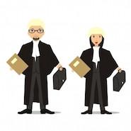 Cartoon male and female judges