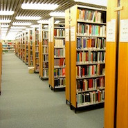 University library shelves