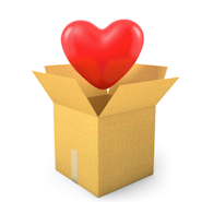 Red Heart in a cardboard box