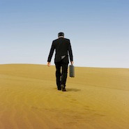 Businessman in a desert