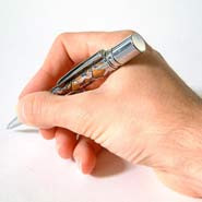 Hand using a pen