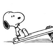Snoopy on a seesaw