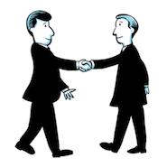 Two cartoon businessmen shaking hands