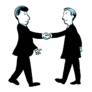 Two cartoon businessmen shaking hands