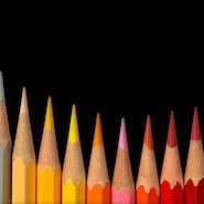 Pencils in warm colours