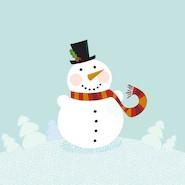 Cartoon smiling snowman