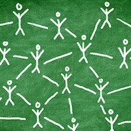 Stick figures symbolizing networking