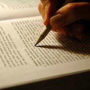 Pen writing in a book