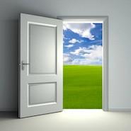 Door open showing a field