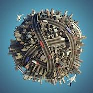 Busy urban planet