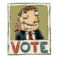 Cartoon election campaign poster