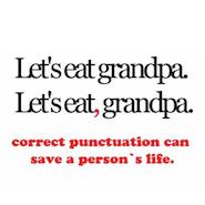 """Let's eat grandpa. Let's eat, grandpa"" text"