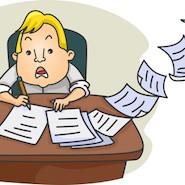 Stressed cartoon student